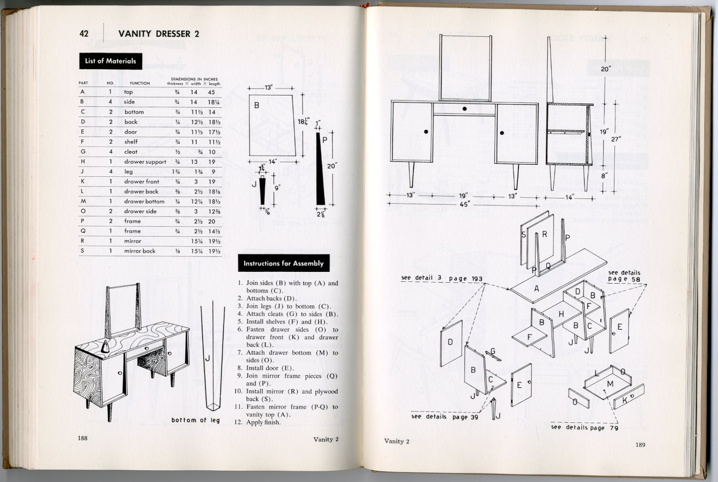 Exceptional How To Build Modern Furniture By Mario Dal Fabbro, McGraw Hill, 1957 (back  Cover Table Of Contents!)