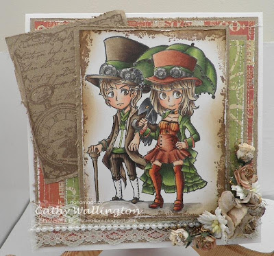 steampunk theme card- character stamps-visible image