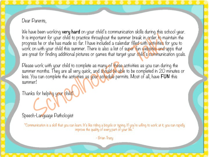 Schoolhouse Talk!: Summer Speech Activity Calendars