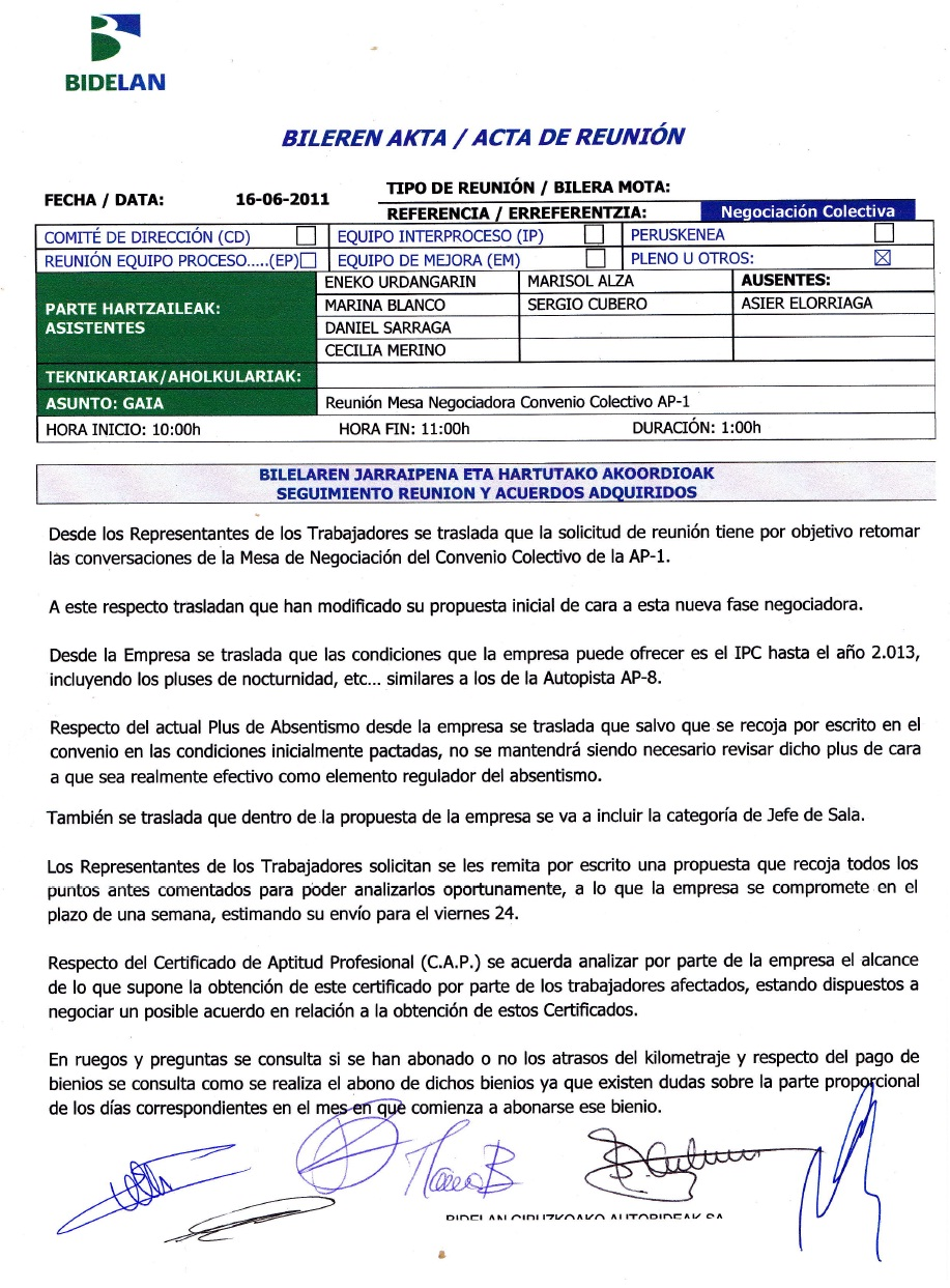 ELA BIDELAN AP1: REUNION COMITE - DIRECCION 16.06.2011