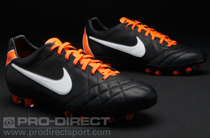 nike tiempo black and orange