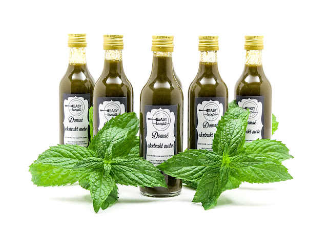 Mint extract recipe shot with mint