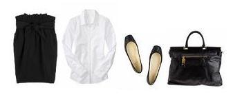 falda negra + camisa blanca + bilarinas negras + bolso grande negro