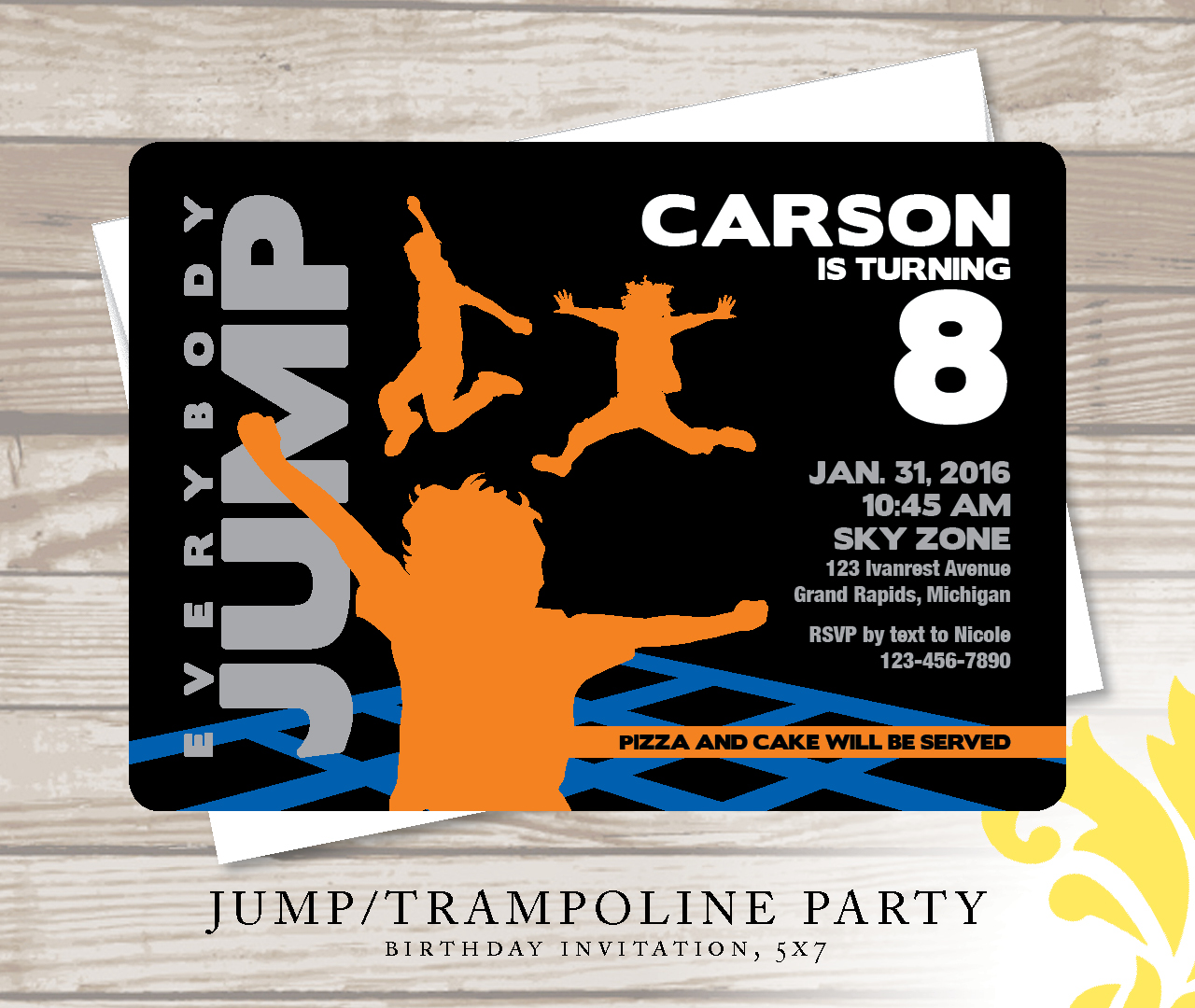 nealon design jump birthday invitation