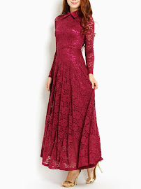Wine Red Lapel Long Sleeve Lace Maxi Dress