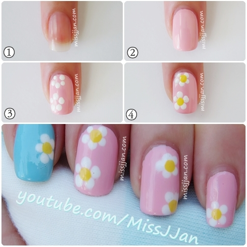 Easy Daisy Flower Nail Art Using A Toothpick