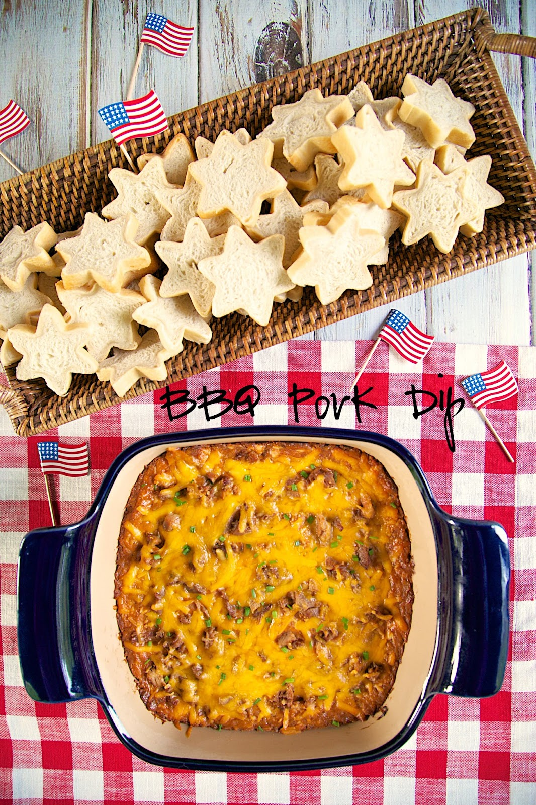 BBQ Pork Dip - THE BEST! I could make a meal out of this dip! Pork, cream cheese, Ranch, BBQ sauce, cheddar cheese and green onions. YUM! You can make this dip ahead of time and refrigerate until you are ready to bake. Perfect for bringing to a party!