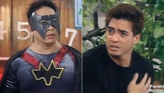 Bitoy in a Batman-like costume, helping the wrong person.