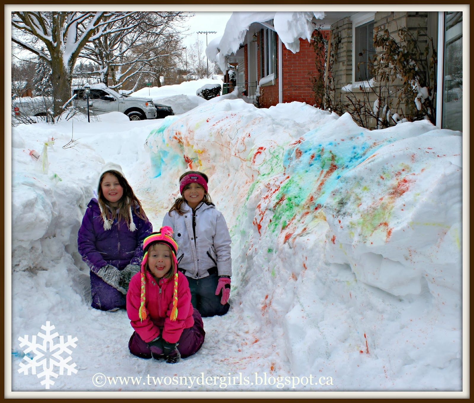 children snow painting