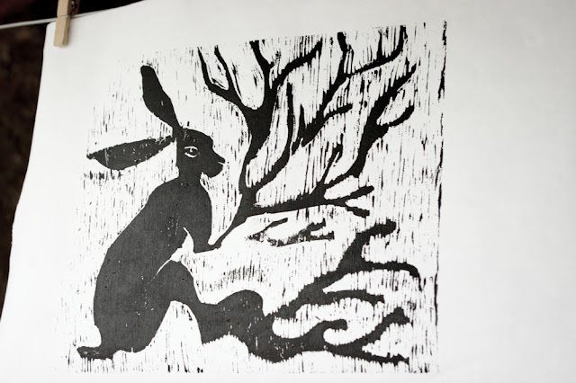 hare trees woodcut woodblock printmaking