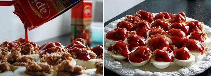 huevos, atún y tomate