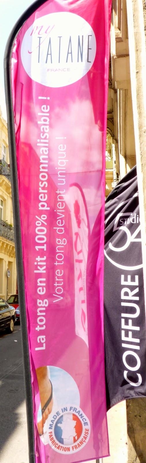 Notre drapeau My Tatane pour vous informer de notre exclusivité à Montpellier,  vous pouvez personnaliser à 100 % vos tongs.