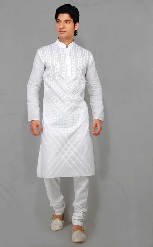 New Fashion Styles Latest Gents White Kurta Design 2013