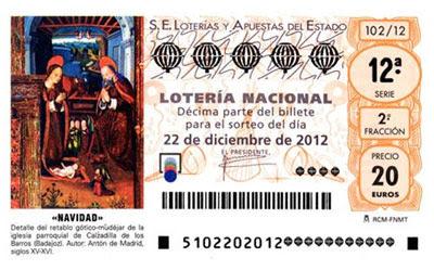 décimo lotería Navidad 2012