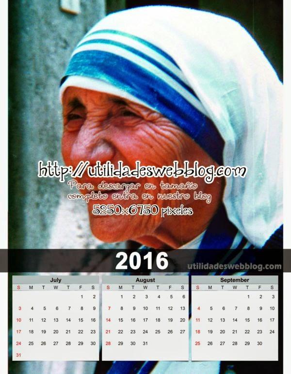 Calendario católico trimestral 2016 Julio Agosto y Septiembre para imprimir de Madre Teresa de Calcuta