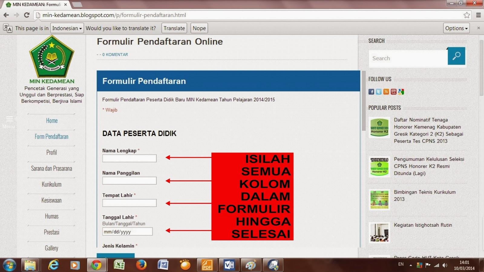 Didik Baru (PPDB) MIN Kedamean Http Ppdb Online 2014 Banjarmasin