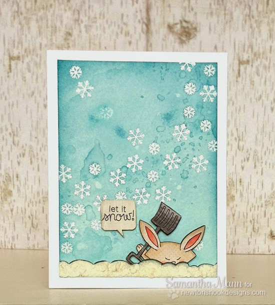 Let it Snow Bunny Card by Samantha Mann for Newton's Nook Designs | Winter Tails Stamp Set