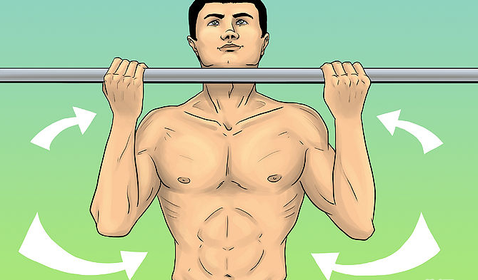 Do pull-ups hanging from a horizontal bar