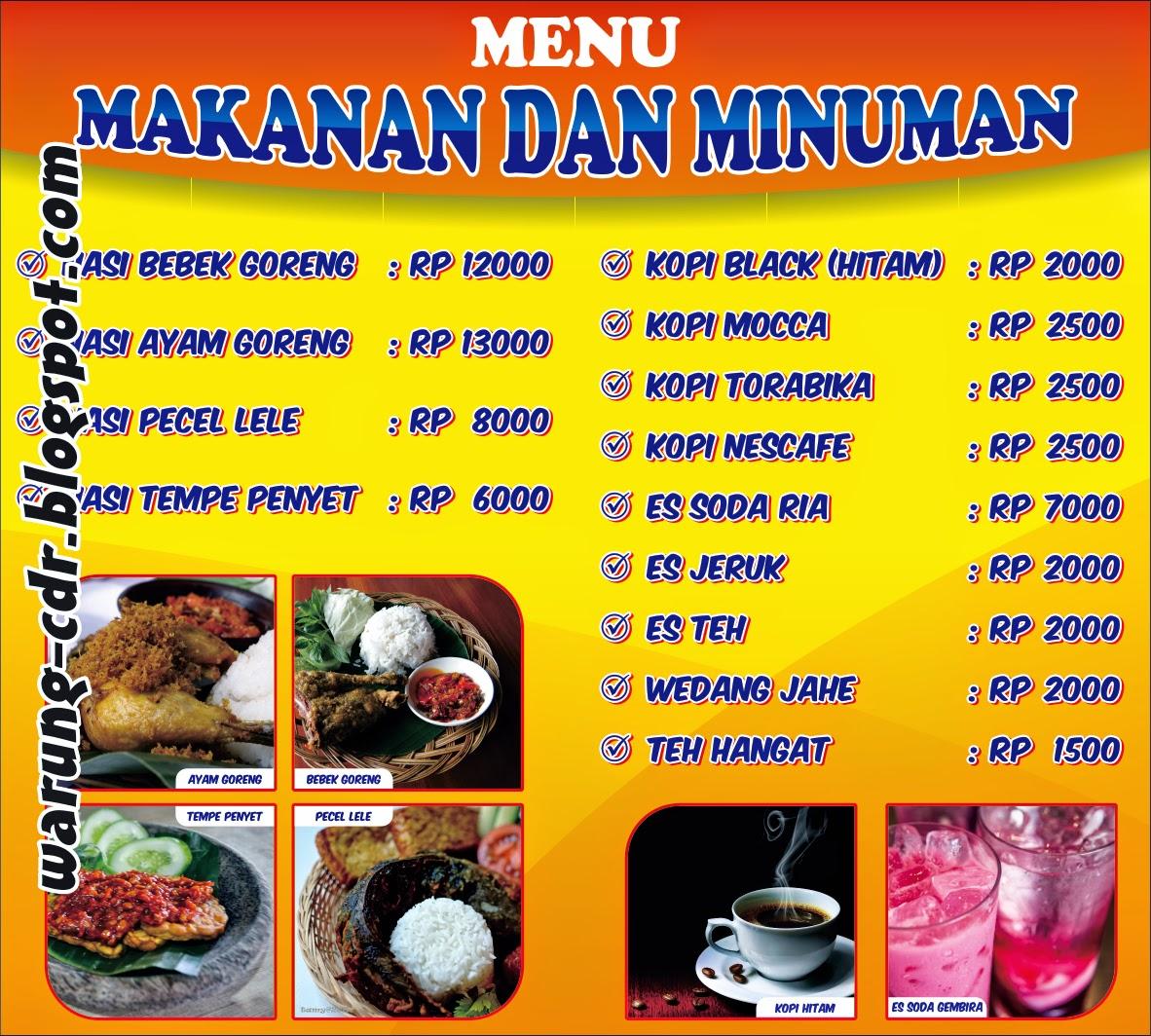 Contoh Banner Warung Menu Makanan Dan Minuman Warung Cdr