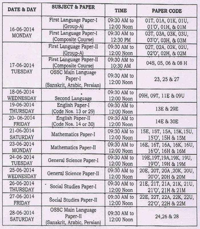 SSC ADVANCED SUPPLEMENTARY EXAMINATIONS JUNE-2014 TIME TABLE