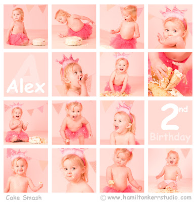 A series of 16 photos showing a child smashing their way through a birthday cake.