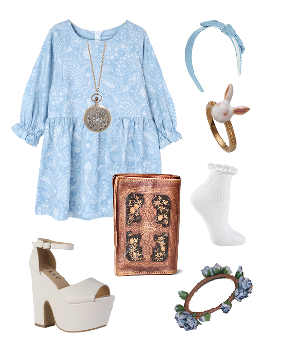 alice in wonderland look, blue dress, pocket watch necklace, white rabbit ring, blue bow headband, white frilly socks, book clutch, white wedges