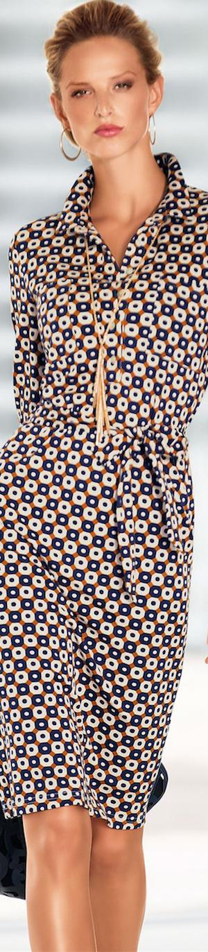 Madeleine Jersey Dress in Navy/Mango