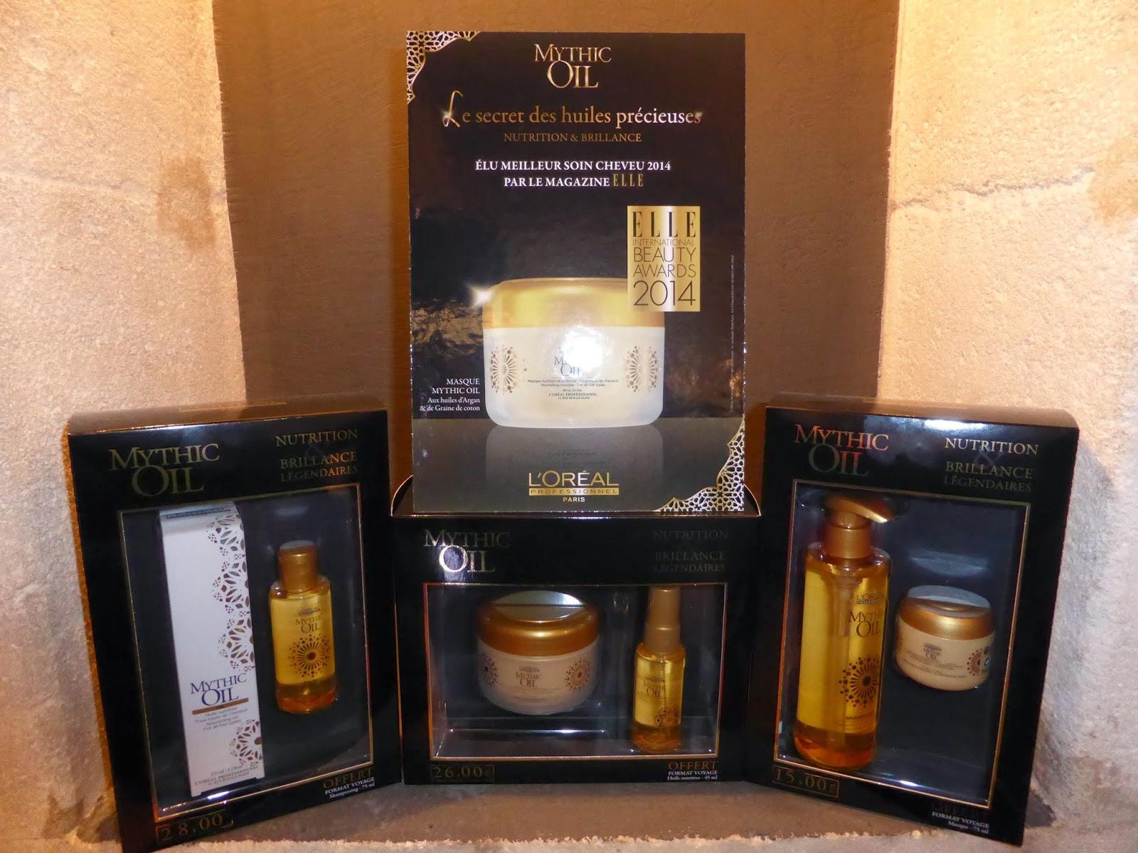 Présentation des 3 coffrets Mythic Oil de L'Oréal avec les formats voyages offerts,  pour fêter la sélection du masque nutritif Mythic Oil comme meilleur soin cheveu 2014 par le magazine Elle.