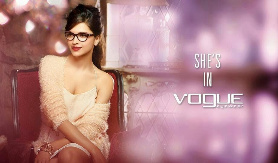 Deepika Padukone cleavage in white nightwear in Vogue Eyewear