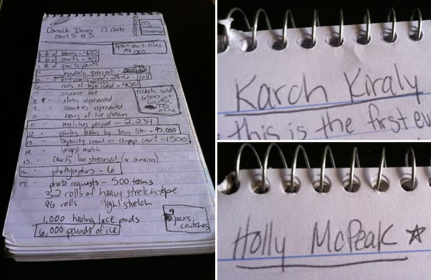 Notes taken in my reporter's notebook during my USA Volleyball internship
