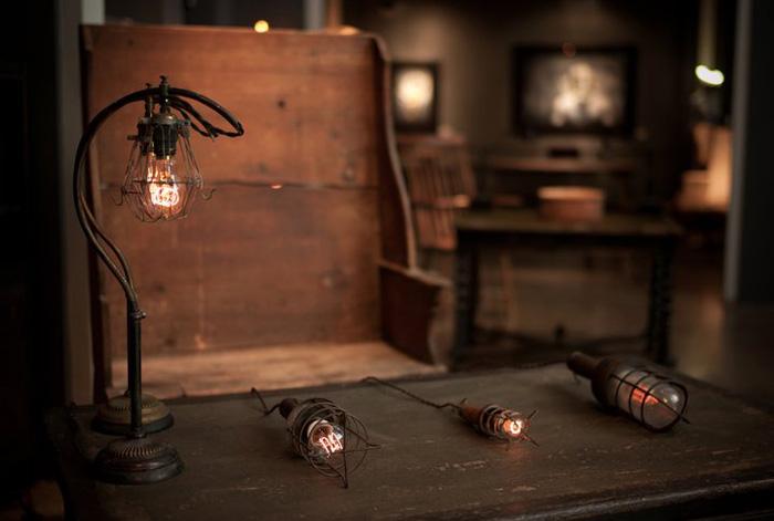 decoracion con lamparas vintage - lampara de jaula de trabajo antigua