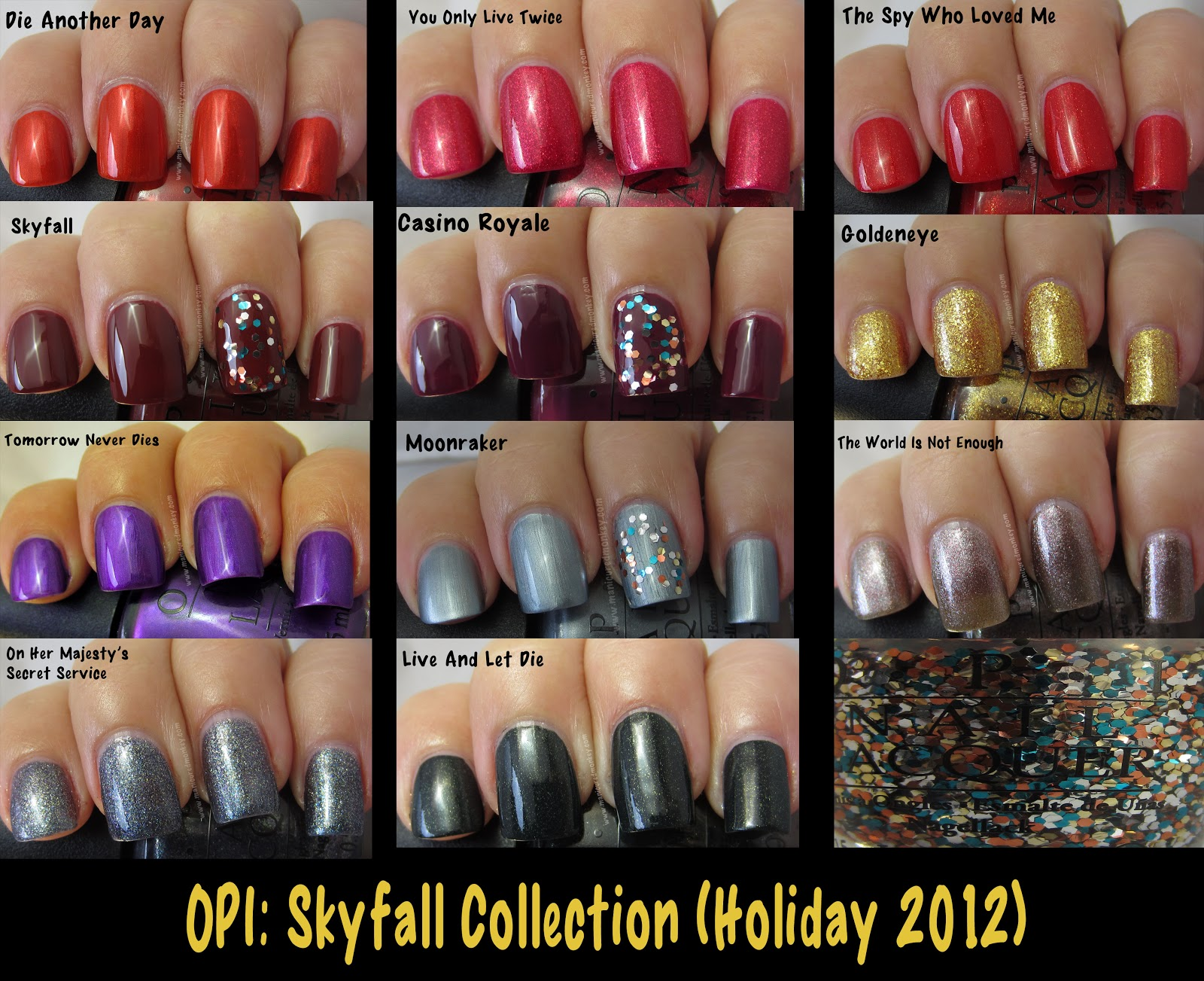 The Manicured Monkey: OPI: Skyfall Collection (007 James Bond Swatches)