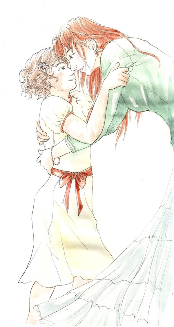câlin entre mère et fille.