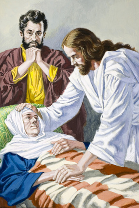 Jesus heals Peter's mother-in-law - Artist unknown