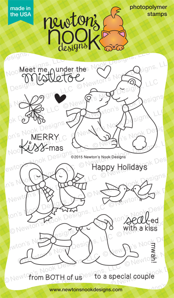 Holiday Smooches 4x6 photopolymer stamp set | Kissing Animals & Mistletoe | Stamps by Newton's Nook Designs  #newtonsnook