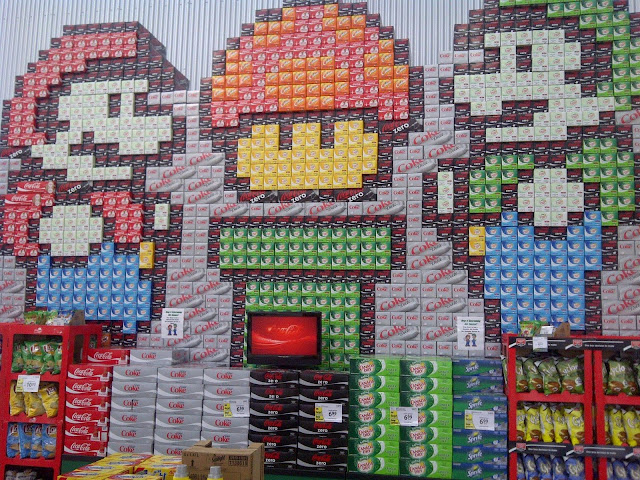 Super Mario Bros., soda, pop, grocery store display