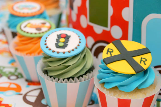 Transportation Themed Cupcakes