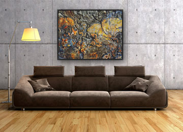 abstract, grey, yellow, black, orange, blue, stone, wall art, contemporary, floating frame, canvas art, modern,