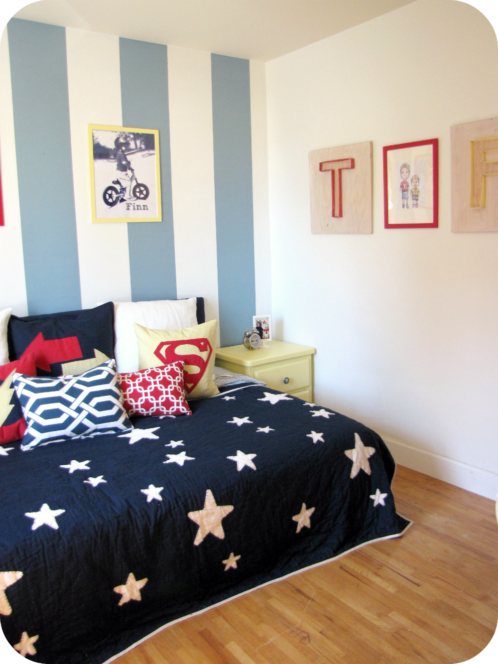My house of giggles a red yellow and blue striped shared - Bedroom for boy ...