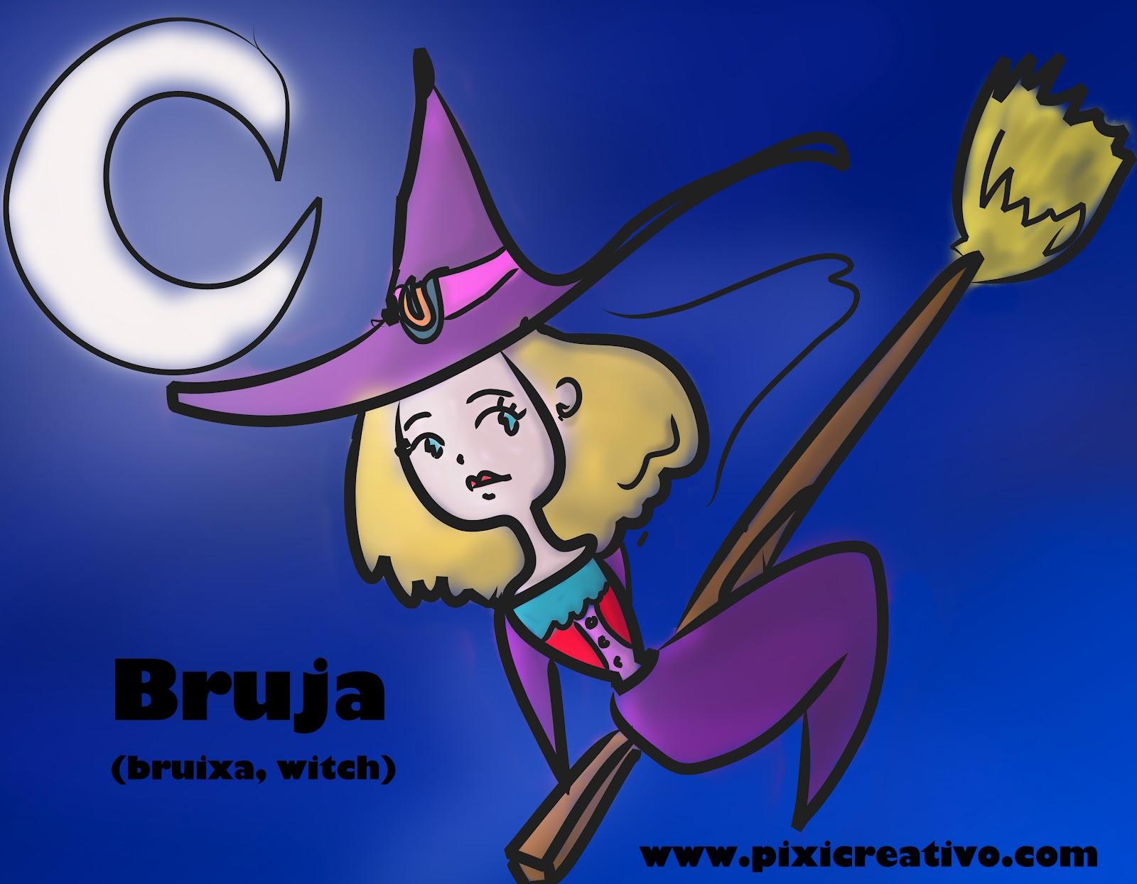 Bruja y Sirena para colorear