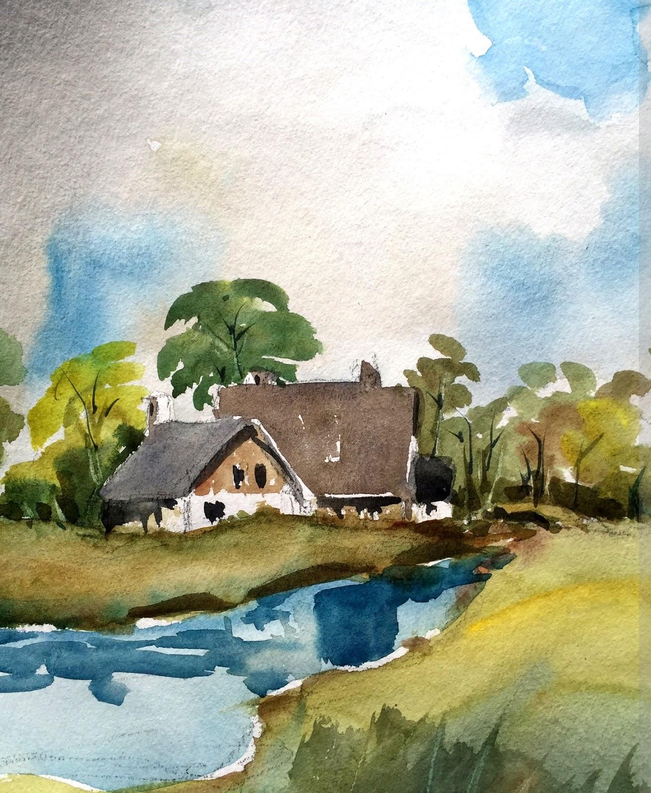 Watercolor landscape by Artmagenta