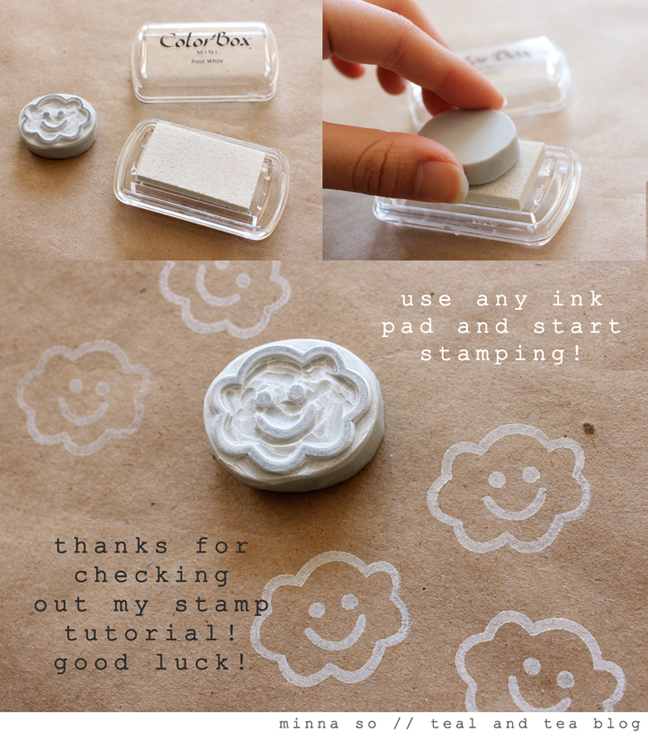 Teal tea diy hand carved stamp tutorial