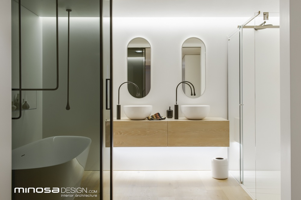 Minosa clean simple lines slick bathroom design by minosa for Australian small bathroom design