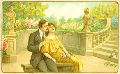 pareja vintage en una postal de principios de siglo