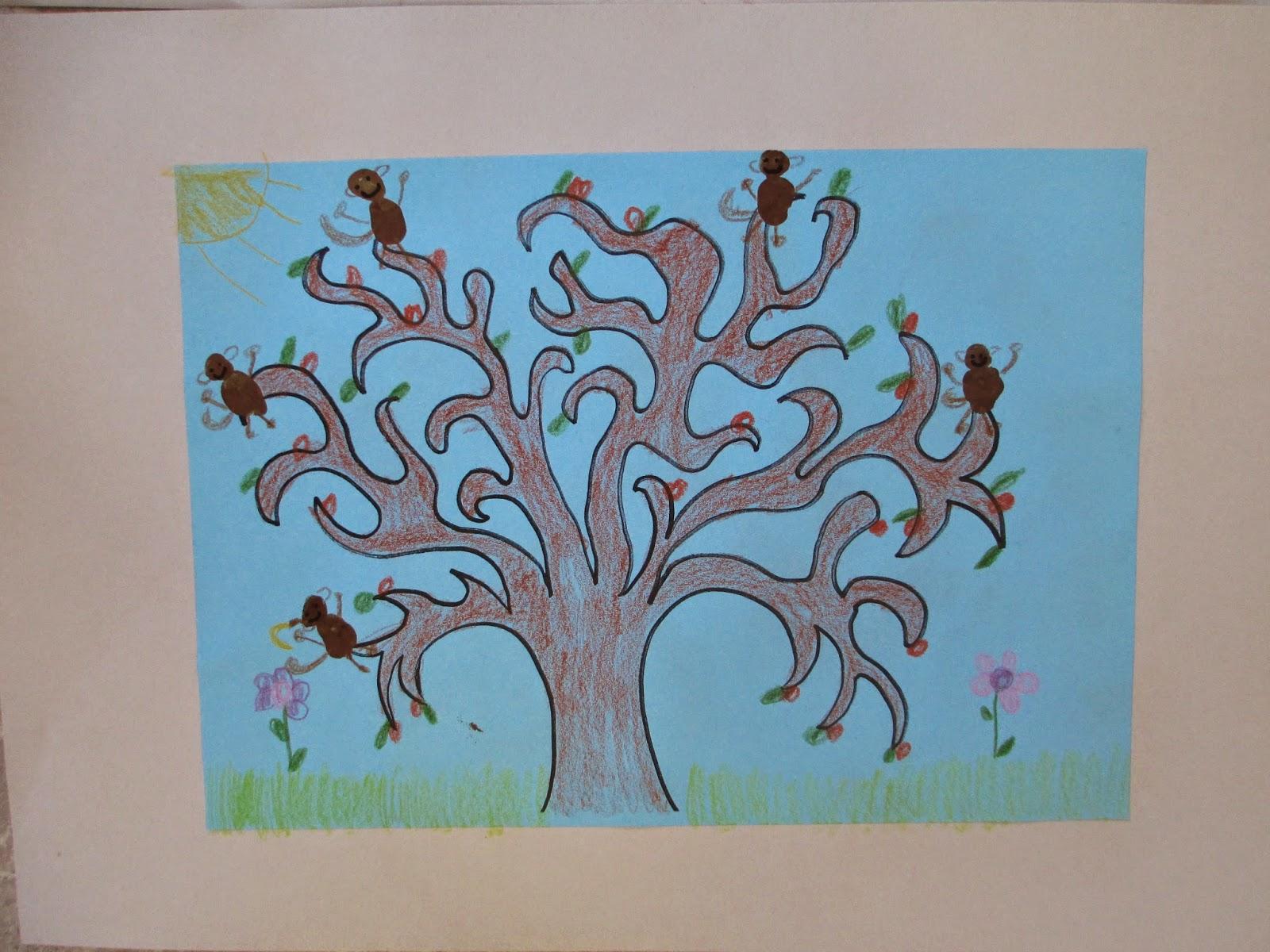 Affen basteln und zeichnen im Kindergarten