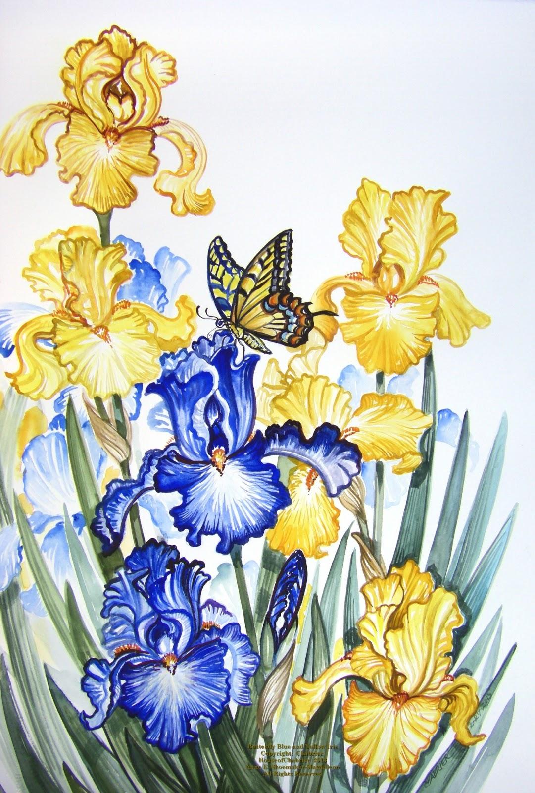 Вышивка ирисы и бабочки