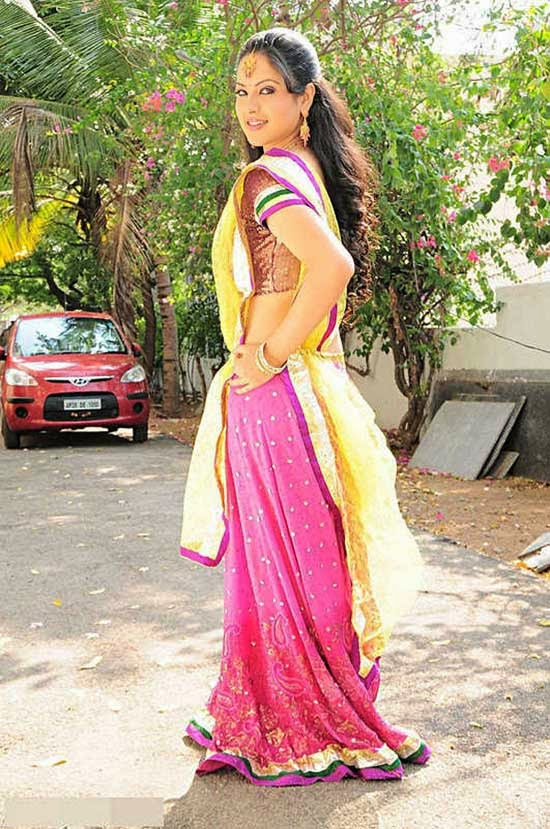 Pooja Bose In Yellow and Pink Half Saree