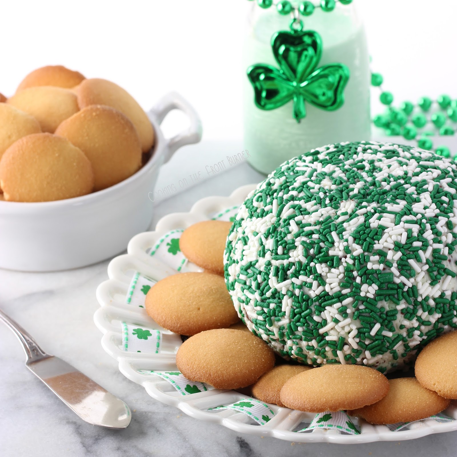 Minty Shamrock Cheeseball | Cooking on the Front Burner #stpattydaydessert