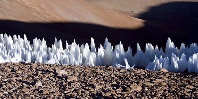 A field of penitentes in Chile -- could the same features on the Jovian moon Europa pose a challenge for surface missions? Credit: ESO
