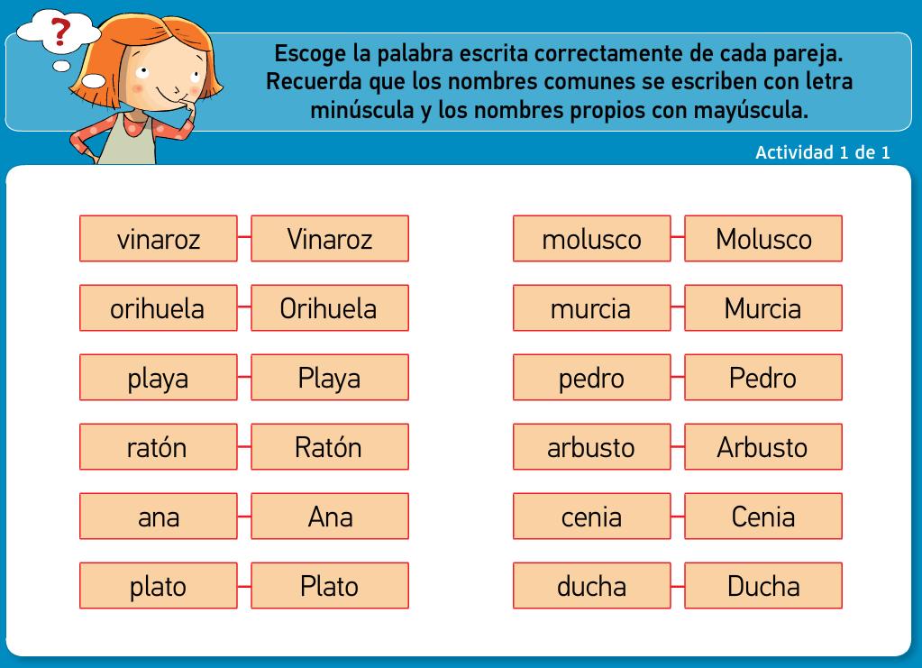 http://www.primerodecarlos.com/TERCERO_PRIMARIA/archivos/actividades_tilde_tercero/3/el_nombre_comun_propio.swf